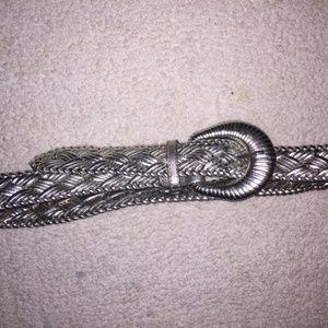 Anne Klein II Silver Braided Leather Belt